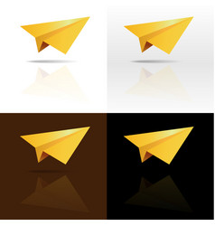 four golden paper planes on background vector image