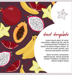 Fresh fruits template bright food card vector