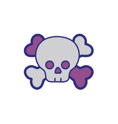 Full color darger skull with bones to death symbol vector
