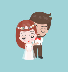 groom and shy bride cute characters for use as vector image