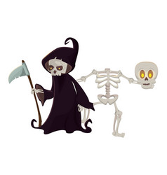 Halloween skeleton and death characters vector