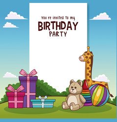 Happy birthday card with toys and gifts vector