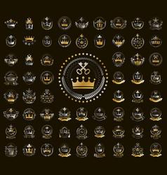 Heraldic coat arms with crowns big set vintage vector