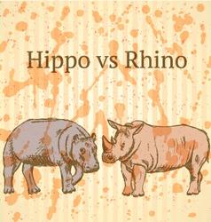 Hippo Rhino vector image