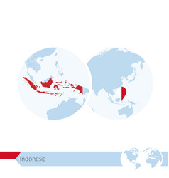 Indonesia on world globe with flag and regional vector