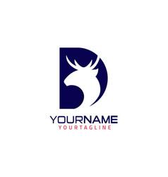 initial letter d deer logo design vector image