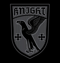 Knight design heraldic shield with eagle and vector