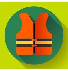 life safety jacket vest icon flat 20 vector image