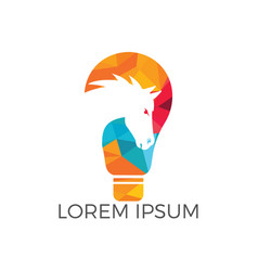 light bulb and horse logo design vector image
