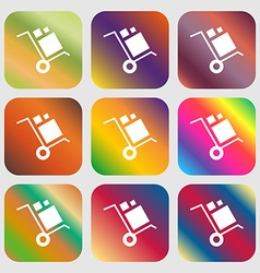 Loader Icon Nine buttons with bright gradients vector