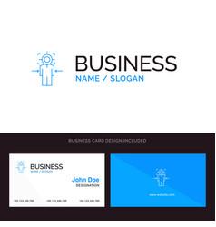Man focus target achieve goal blue business logo vector