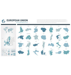maps set high detailed 28 maps european union vector image