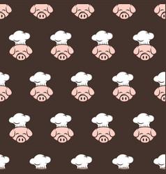 Master chef pig pork bacon theme cartoon seamless vector