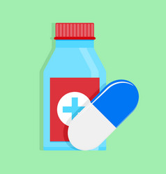 Medical medicine bottle and capsule vector