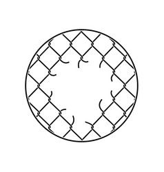 mesh netting torn rabitz with hole mesh fence vector image
