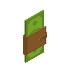 Money in your wallet cash in purse dollars in vector
