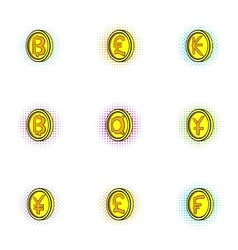 Money of countries icons set pop-art style vector