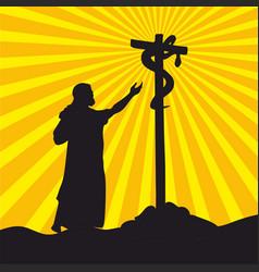 Moses in desert and brazen serpent vector