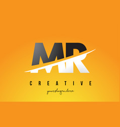 Mr m r letter modern logo design with yellow vector