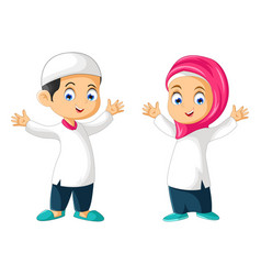 Muslim couple boy and girl cartoon isolated vector