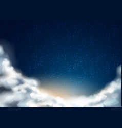 night sky with stars clouds background vector image