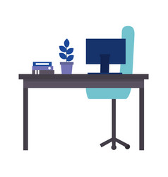 Office desk computer folder chair plant vector