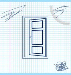 open door line sketch icon isolated on white vector image