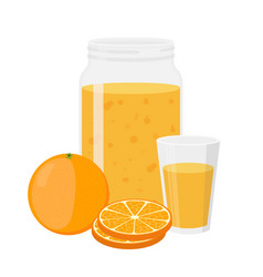 orange juice orange and slice cartoon flat style vector image