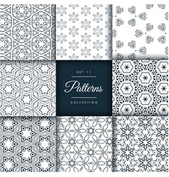 Pack of abstract patterns in floral style vector