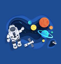 paper cut space cartoon cosmonaut in open space vector image