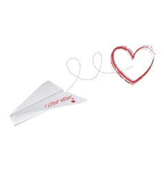 Paper plane with heart vector