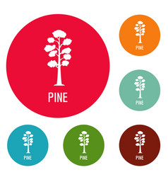 Pine tree icons circle set vector