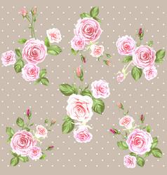 pink vintage roses pattern vector image