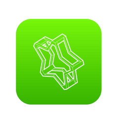 Pointed star icon green vector