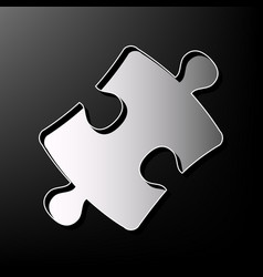 Puzzle piece sign gray 3d printed icon on vector