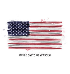 Realistic watercolor painting flag of usa vector