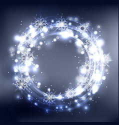 round frame with glowing sparks and snowflakes on vector image