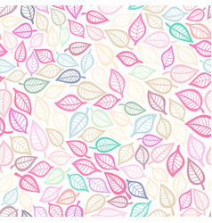 seamless pattern with pink leaf botanical vector image