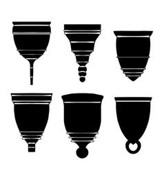 set black silhouette various menstrual cups vector image