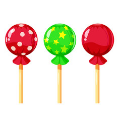 Set of colorful lollipops sweet candies vector