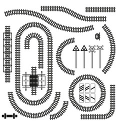 set of railway parts and road signs vector image
