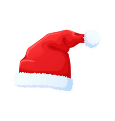 set of red santa claus hat new year cap vector image