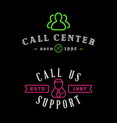Set support contact center service elements vector