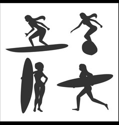 Set with woman surfers vector