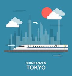 Shinkanzen sky train in tokyo design vector