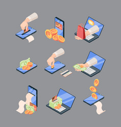 shopping and sales online isometric large set vector image