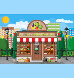 street shop building fruit and vegetable store vector image