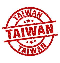 Taiwan red round grunge stamp vector