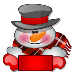 The snowmans head in tophat sketch for greeting vector