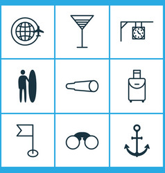 travel icons set with around globe street clock vector image